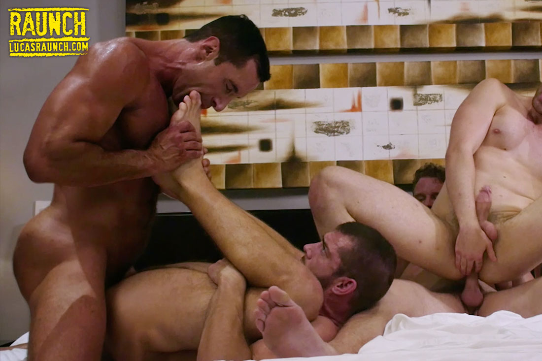 Shawn Reeve, Jackson Radiz, Tryp Bates, Nick Capra | Fourway Foot Play - Gay Movies - Lucas Entertainment