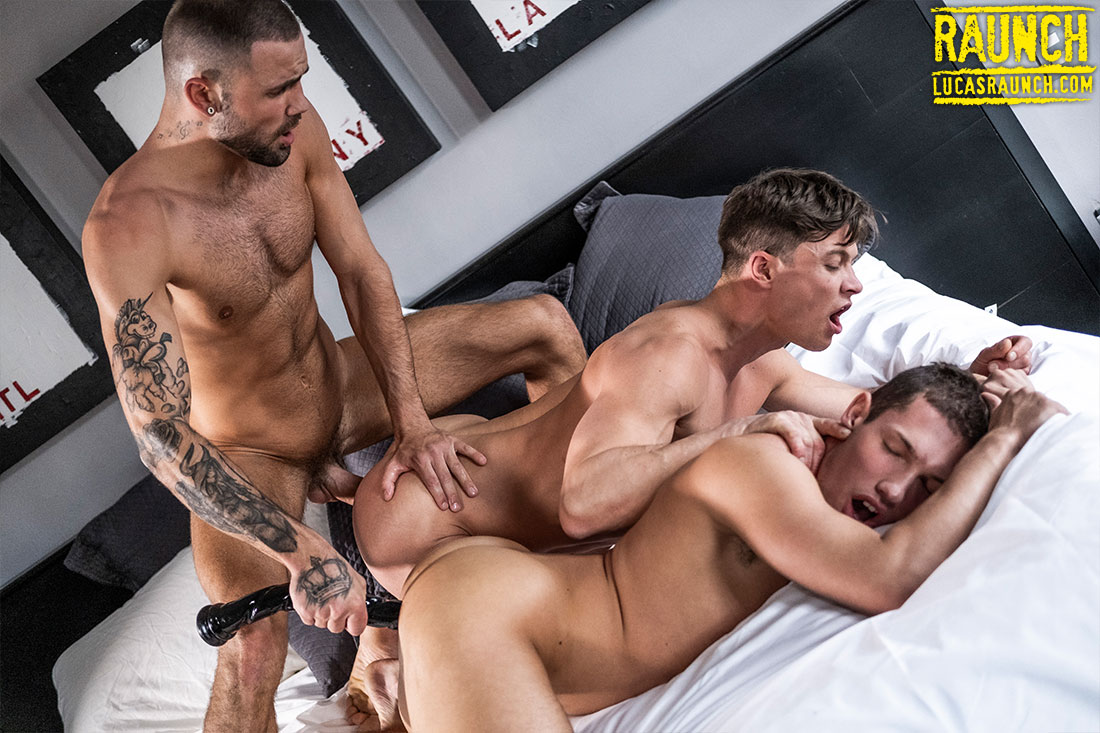 Jeffrey Lloyd And Ruslan Angelo Gang Up On Hunter Smith With Huge Dildos - Gay Movies - Lucas Entertainment
