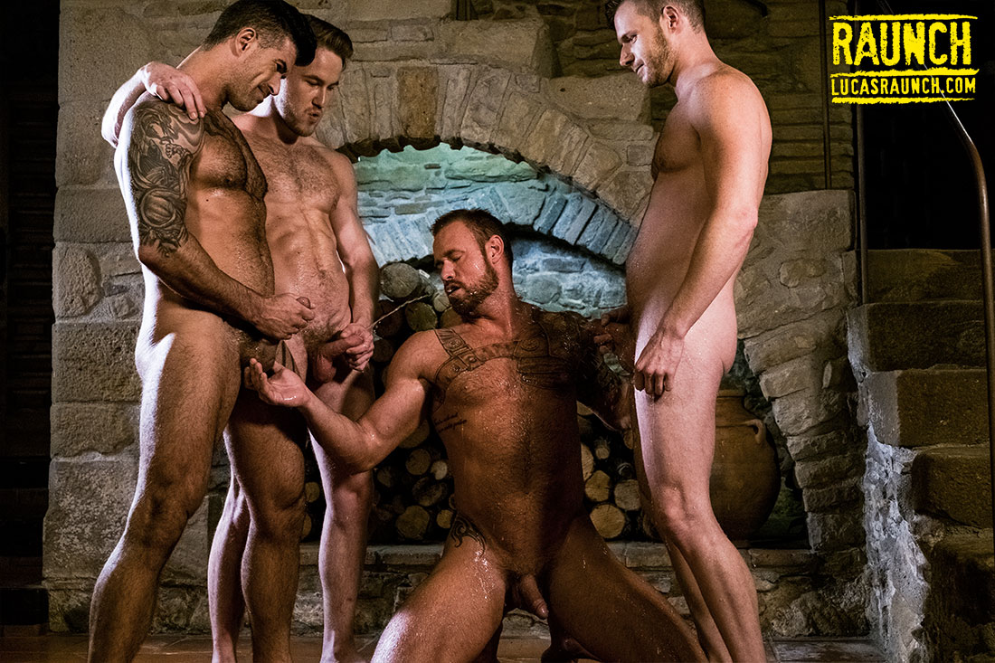 Marq Daniels, Michael Roman, Adam Killian, Brian Bonds | Piss Play - Gay Movies - Lucas Entertainment